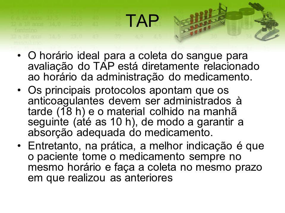 TAP O horário ideal para a coleta do sangue para avaliação do TAP está diretamente relacionado ao horário da administração do medicamento. Os principa