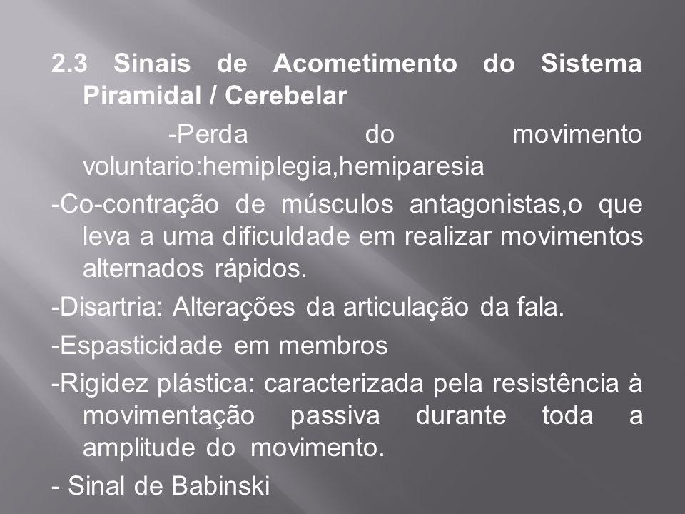 2.3 Sinais de Acometimento do Sistema Piramidal / Cerebelar -Perda do movimento voluntario:hemiplegia,hemiparesia -Co-contração de músculos antagonist