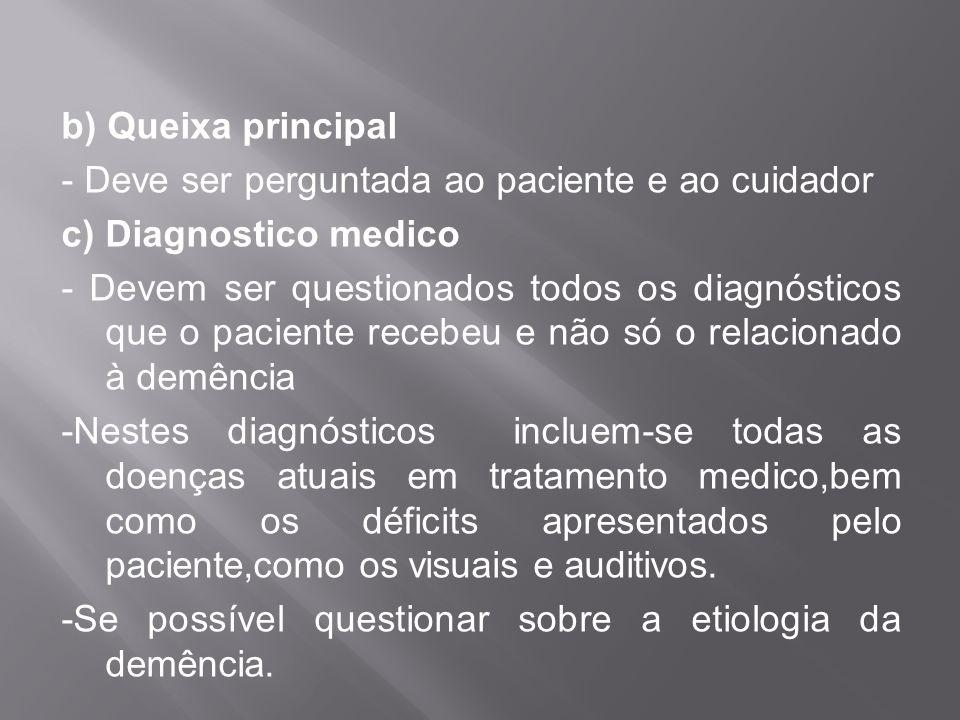 b) Queixa principal - Deve ser perguntada ao paciente e ao cuidador c) Diagnostico medico - Devem ser questionados todos os diagnósticos que o pacient