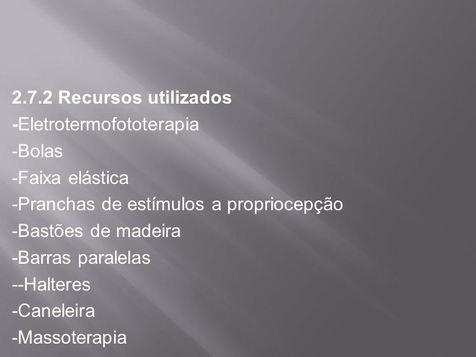 2.7.2 Recursos utilizados -Eletrotermofototerapia -Bolas -Faixa elástica -Pranchas de estímulos a propriocepção -Bastões de madeira -Barras paralelas