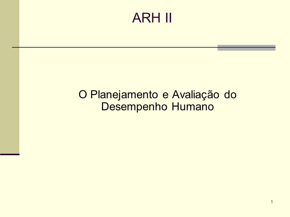 1 ARH II O Planejamento e Avaliação do Desempenho Humano