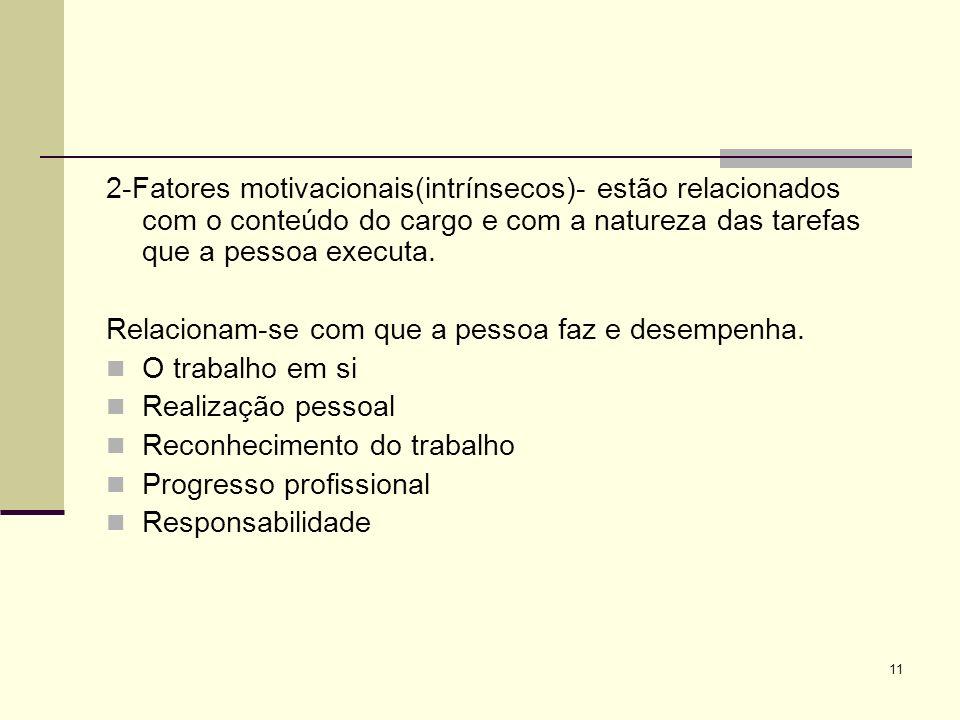 11 2-Fatores motivacionais(intrínsecos)- estão relacionados com o conteúdo do cargo e com a natureza das tarefas que a pessoa executa.