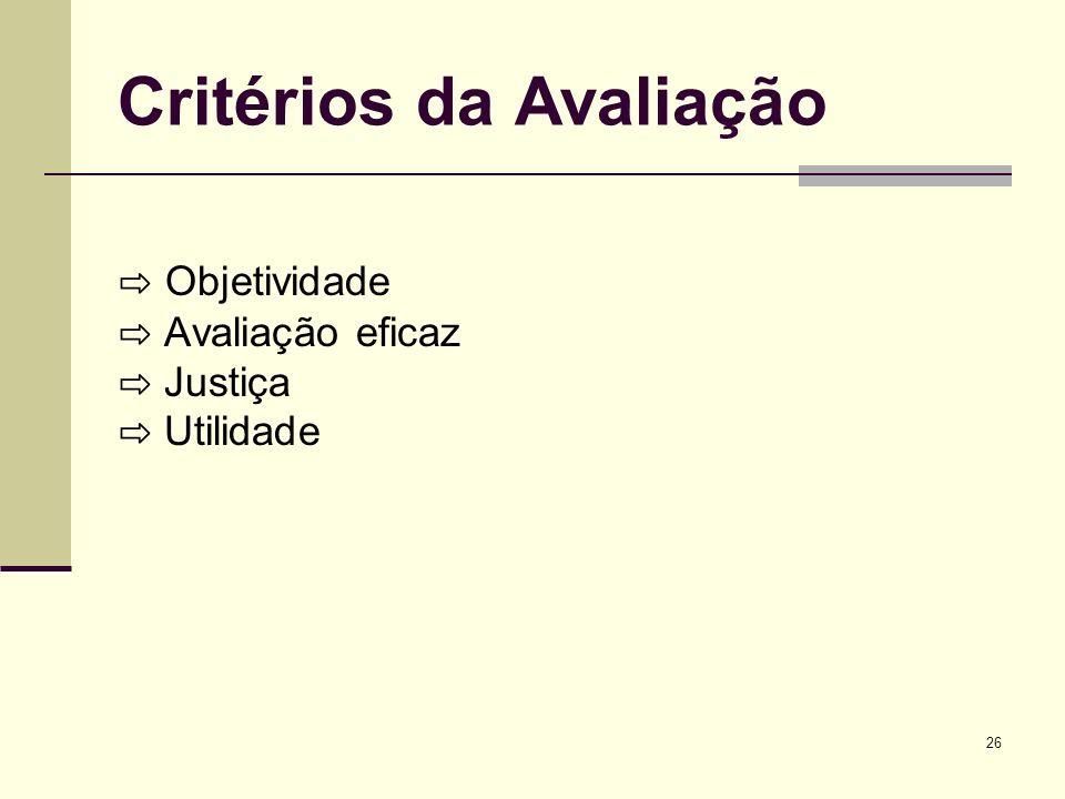 26 Critérios da Avaliação Objetividade Avaliação eficaz Justiça Utilidade