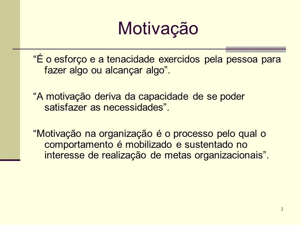 3 Motivação É o esforço e a tenacidade exercidos pela pessoa para fazer algo ou alcançar algo. A motivação deriva da capacidade de se poder satisfazer