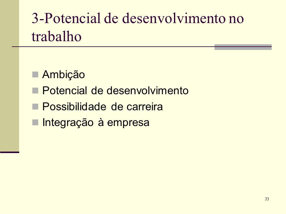 33 3-Potencial de desenvolvimento no trabalho Ambição Potencial de desenvolvimento Possibilidade de carreira Integração à empresa