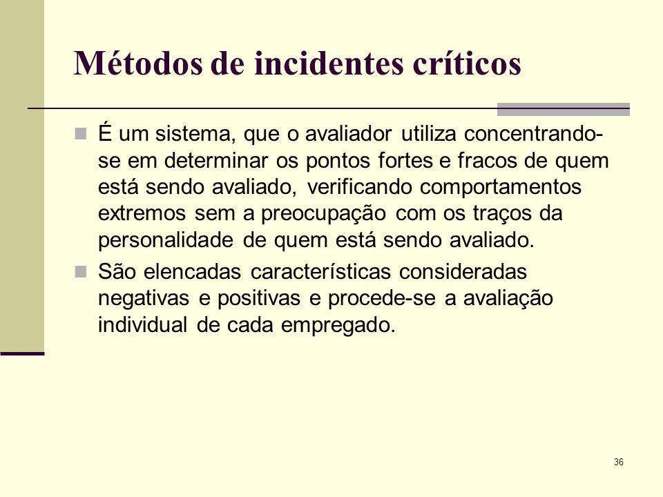 36 Métodos de incidentes críticos É um sistema, que o avaliador utiliza concentrando- se em determinar os pontos fortes e fracos de quem está sendo avaliado, verificando comportamentos extremos sem a preocupação com os traços da personalidade de quem está sendo avaliado.