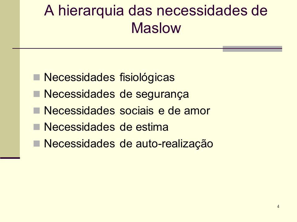 4 A hierarquia das necessidades de Maslow Necessidades fisiológicas Necessidades de segurança Necessidades sociais e de amor Necessidades de estima Necessidades de auto-realização