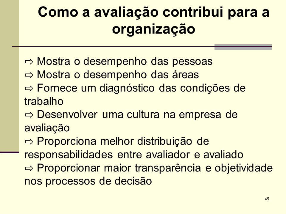 45 Como a avaliação contribui para a organização Mostra o desempenho das pessoas Mostra o desempenho das áreas Fornece um diagnóstico das condições de