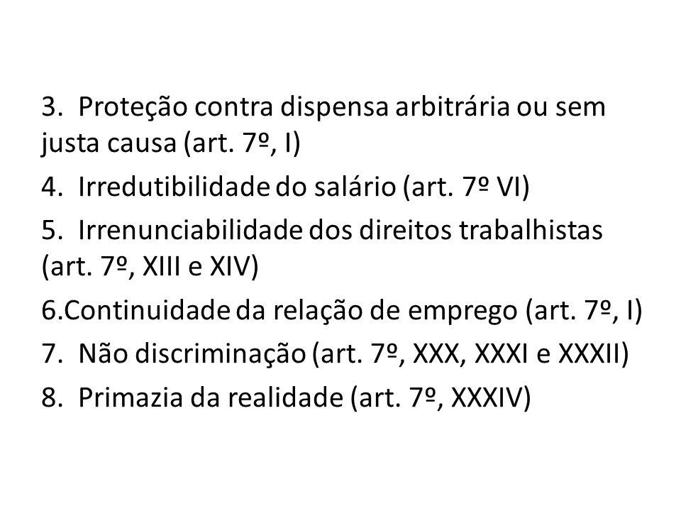 3. Proteção contra dispensa arbitrária ou sem justa causa (art. 7º, I) 4. Irredutibilidade do salário (art. 7º VI) 5. Irrenunciabilidade dos direitos