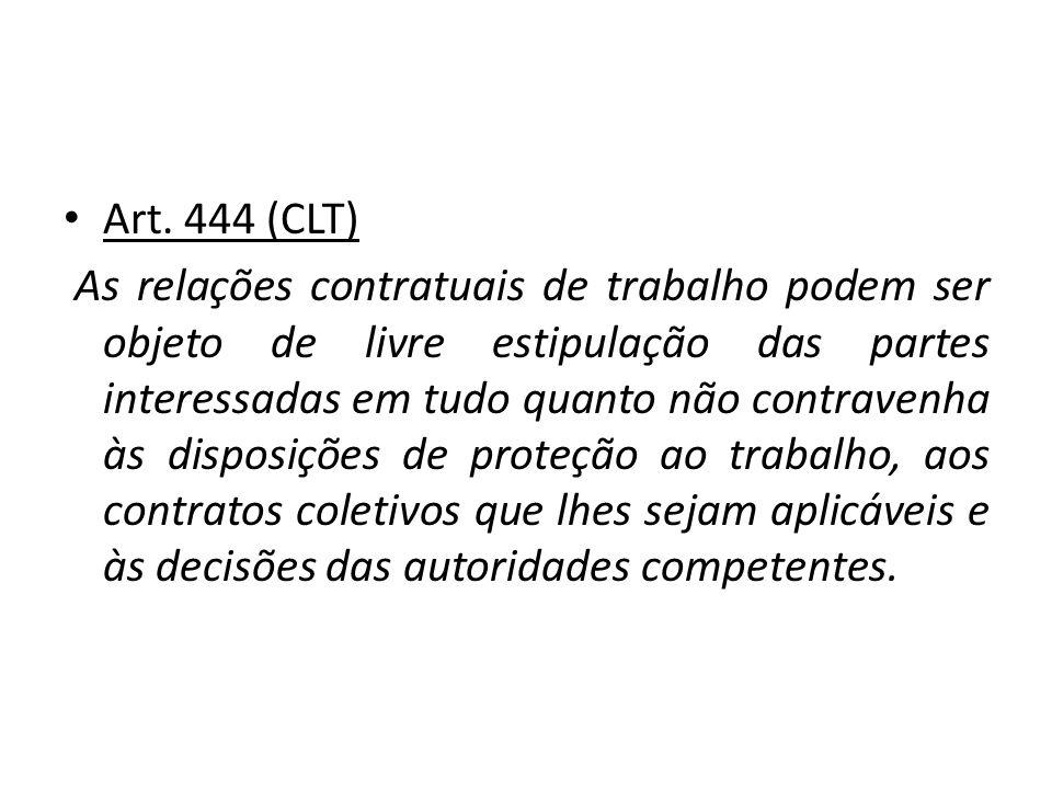 Art. 444 (CLT) As relações contratuais de trabalho podem ser objeto de livre estipulação das partes interessadas em tudo quanto não contravenha às dis