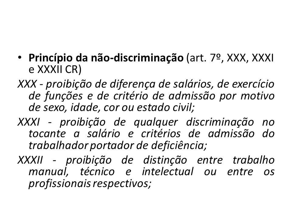 Princípio da não-discriminação (art. 7º, XXX, XXXI e XXXII CR) XXX - proibição de diferença de salários, de exercício de funções e de critério de admi