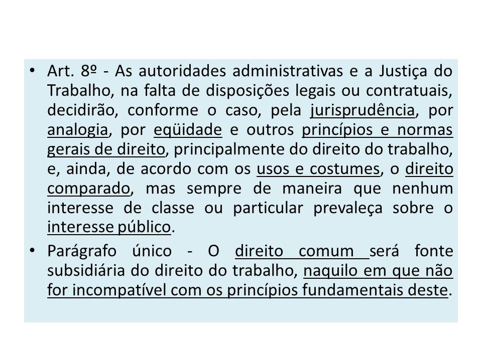 Art. 8º - As autoridades administrativas e a Justiça do Trabalho, na falta de disposições legais ou contratuais, decidirão, conforme o caso, pela juri