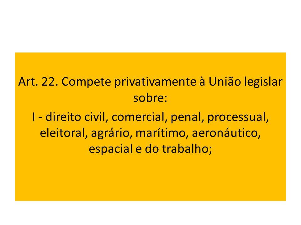 Art. 22. Compete privativamente à União legislar sobre: I - direito civil, comercial, penal, processual, eleitoral, agrário, marítimo, aeronáutico, es