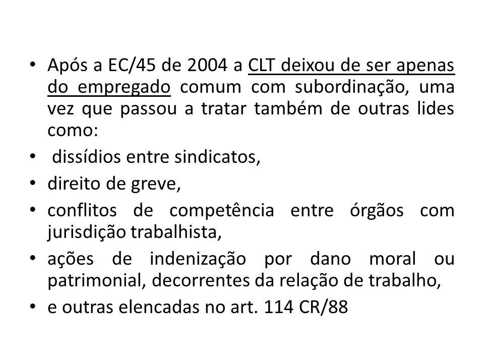 Após a EC/45 de 2004 a CLT deixou de ser apenas do empregado comum com subordinação, uma vez que passou a tratar também de outras lides como: dissídio