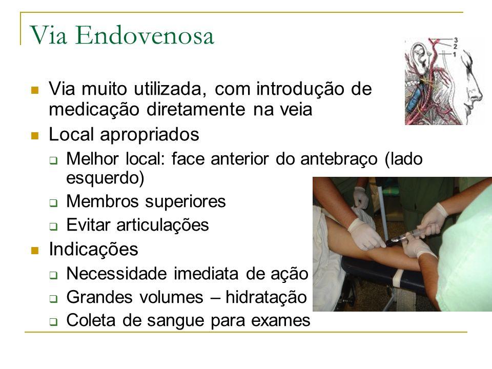Via Endovenosa Via muito utilizada, com introdução de medicação diretamente na veia Local apropriados Melhor local: face anterior do antebraço (lado e