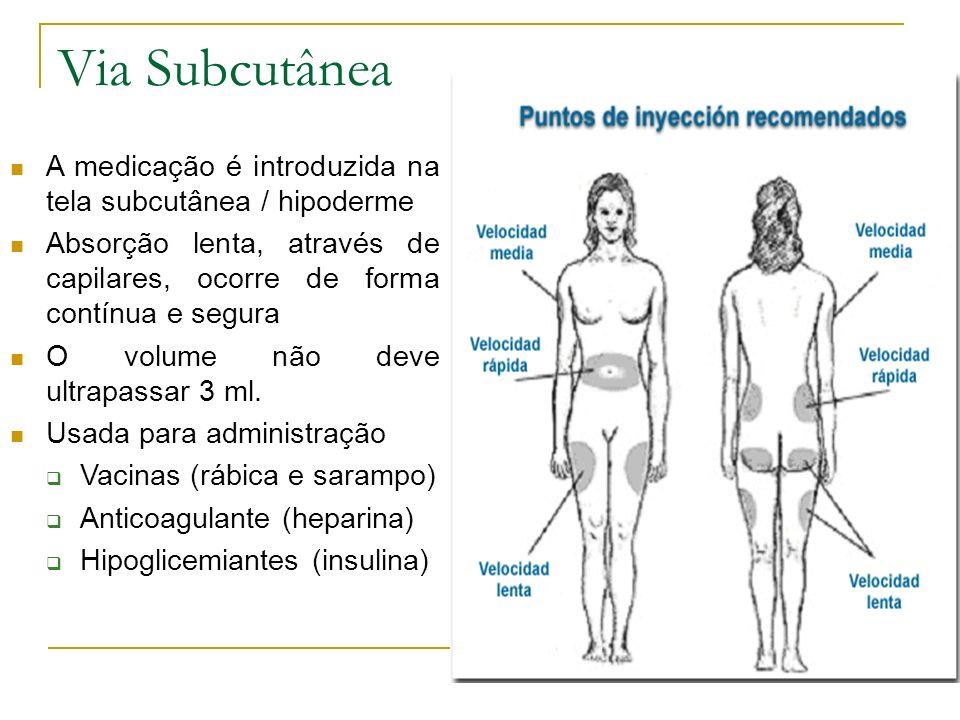 Via Subcutânea A medicação é introduzida na tela subcutânea / hipoderme Absorção lenta, através de capilares, ocorre de forma contínua e segura O volu