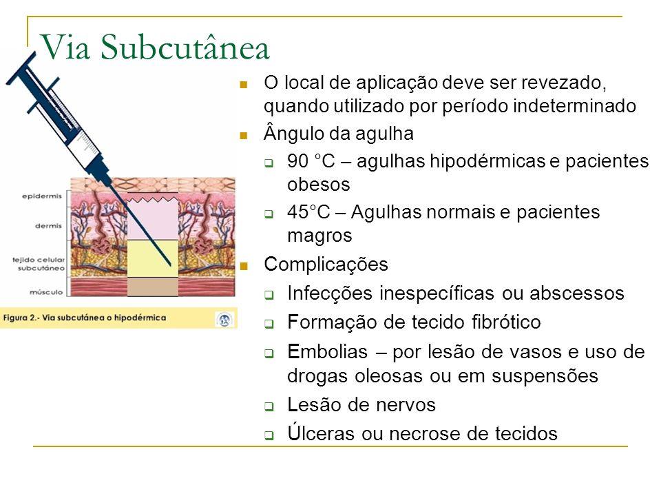 O local de aplicação deve ser revezado, quando utilizado por período indeterminado Ângulo da agulha 90 °C – agulhas hipodérmicas e pacientes obesos 45