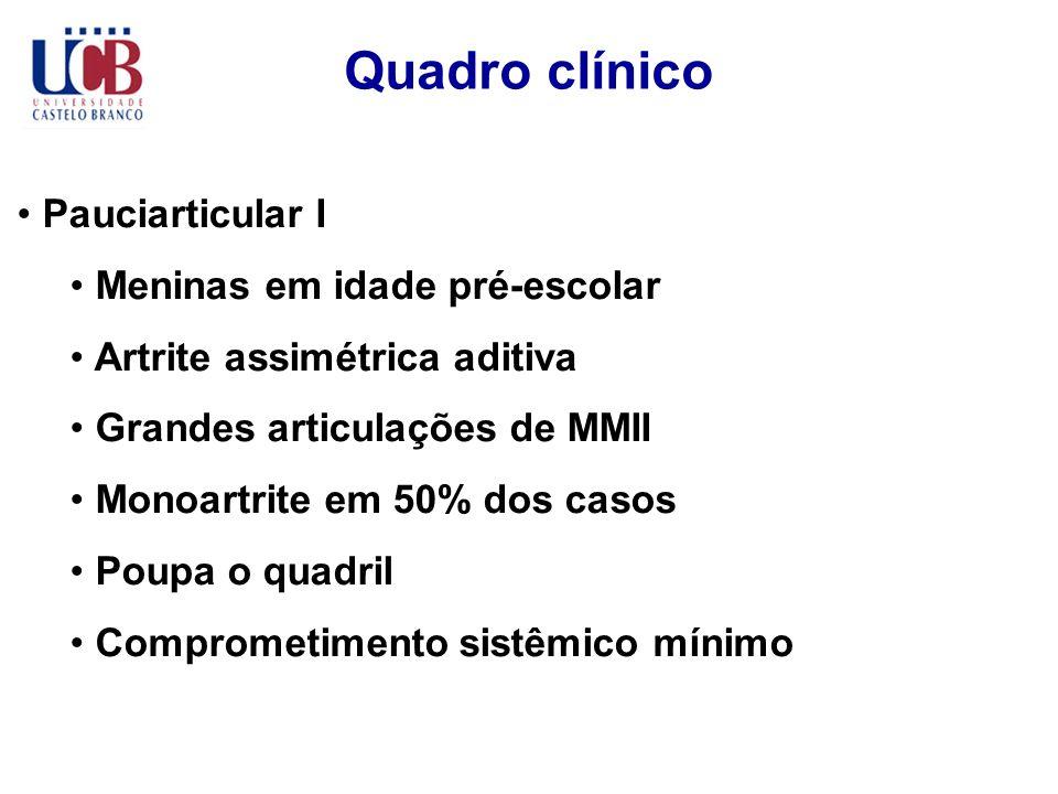 Quadro clínico Pauciarticular I Meninas em idade pré-escolar Artrite assimétrica aditiva Grandes articulações de MMII Monoartrite em 50% dos casos Pou