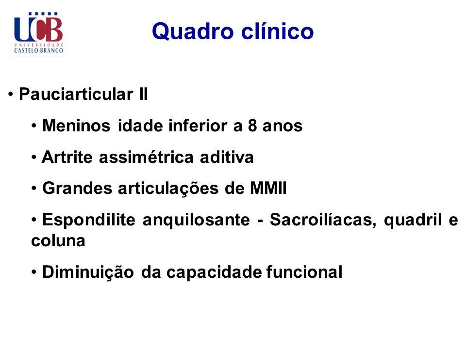 Quadro clínico Pauciarticular II Meninos idade inferior a 8 anos Artrite assimétrica aditiva Grandes articulações de MMII Espondilite anquilosante - S