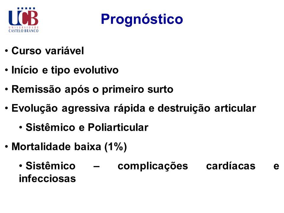 Prognóstico Curso variável Início e tipo evolutivo Remissão após o primeiro surto Evolução agressiva rápida e destruição articular Sistêmico e Poliart