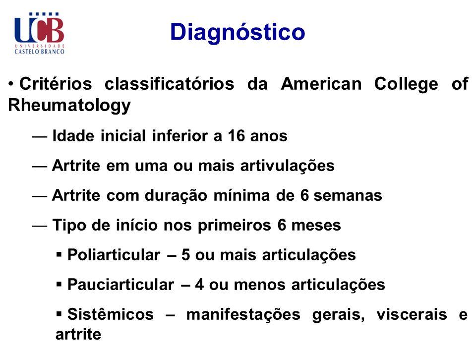 Diagnóstico Critérios classificatórios da American College of Rheumatology Idade inicial inferior a 16 anos Artrite em uma ou mais artivulações Artrit