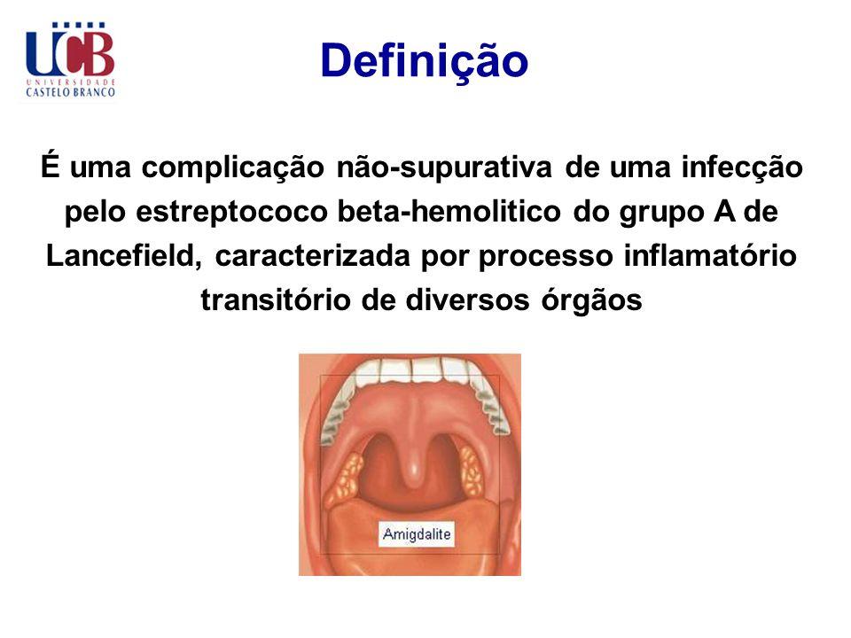 Definição É uma complicação não-supurativa de uma infecção pelo estreptococo beta-hemolitico do grupo A de Lancefield, caracterizada por processo infl