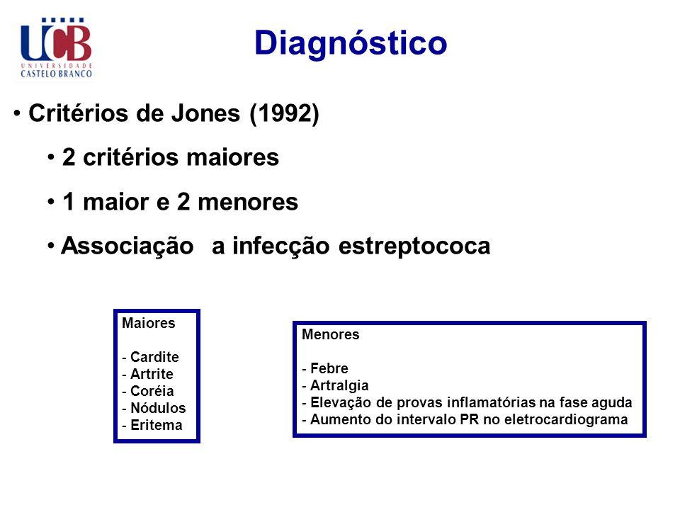 Diagnóstico Critérios de Jones (1992) 2 critérios maiores 1 maior e 2 menores Associação a infecção estreptococa Maiores - Cardite - Artrite - Coréia