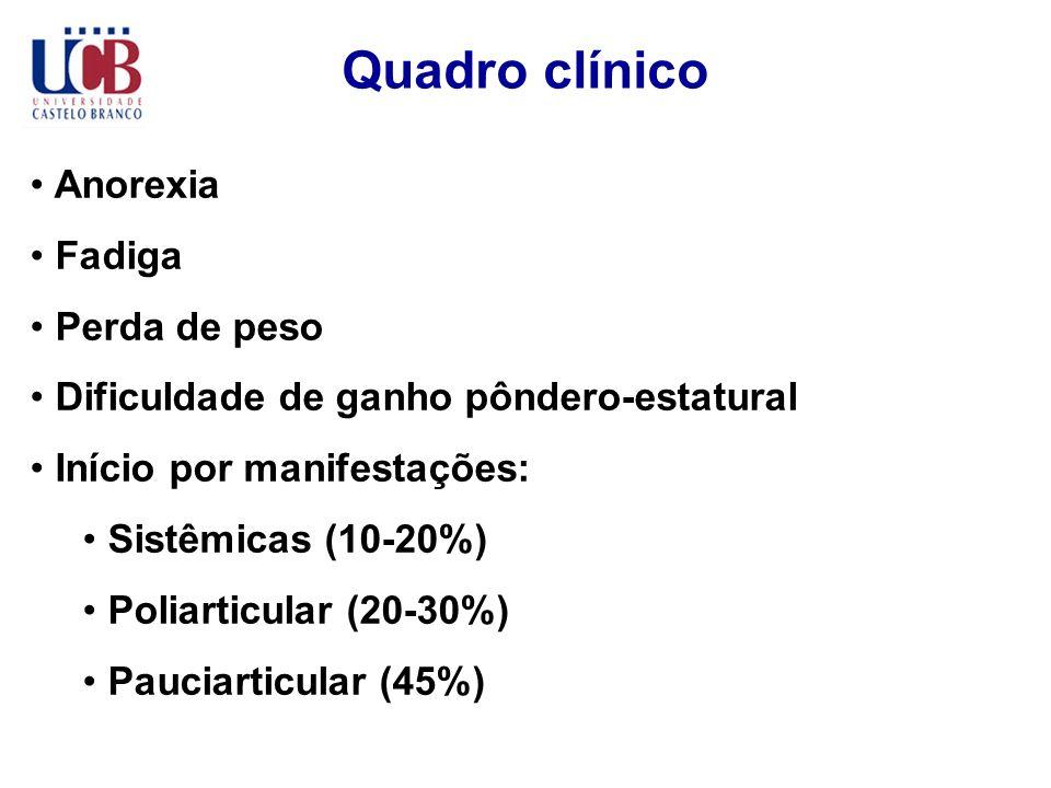 Quadro clínico Anorexia Fadiga Perda de peso Dificuldade de ganho pôndero-estatural Início por manifestações: Sistêmicas (10-20%) Poliarticular (20-30
