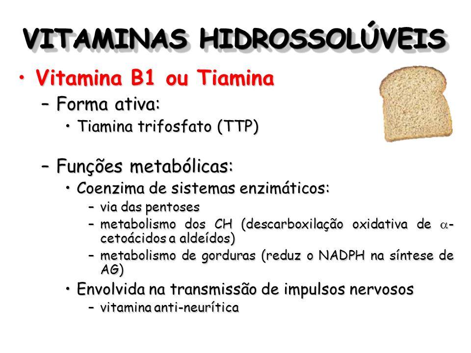 VITAMINAS HIDROSSOLÚVEIS Vitamina B1 ou TiaminaVitamina B1 ou Tiamina –Forma ativa: Tiamina trifosfato (TTP)Tiamina trifosfato (TTP) –Funções metabóli