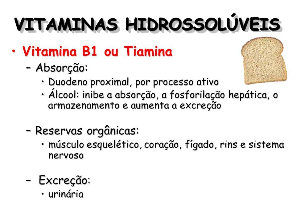 VITAMINAS HIDROSSOLÚVEIS Vitamina B1 ou TiaminaVitamina B1 ou Tiamina –Absorção: Duodeno proximal, por processo ativoDuodeno proximal, por processo at