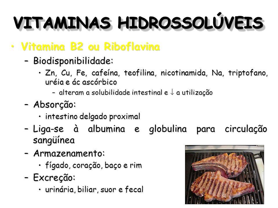 VITAMINAS HIDROSSOLÚVEIS Vitamina B2 ou RiboflavinaVitamina B2 ou Riboflavina –Biodisponibilidade: Zn, Cu, Fe, cafeína, teofilina, nicotinamida, Na, t
