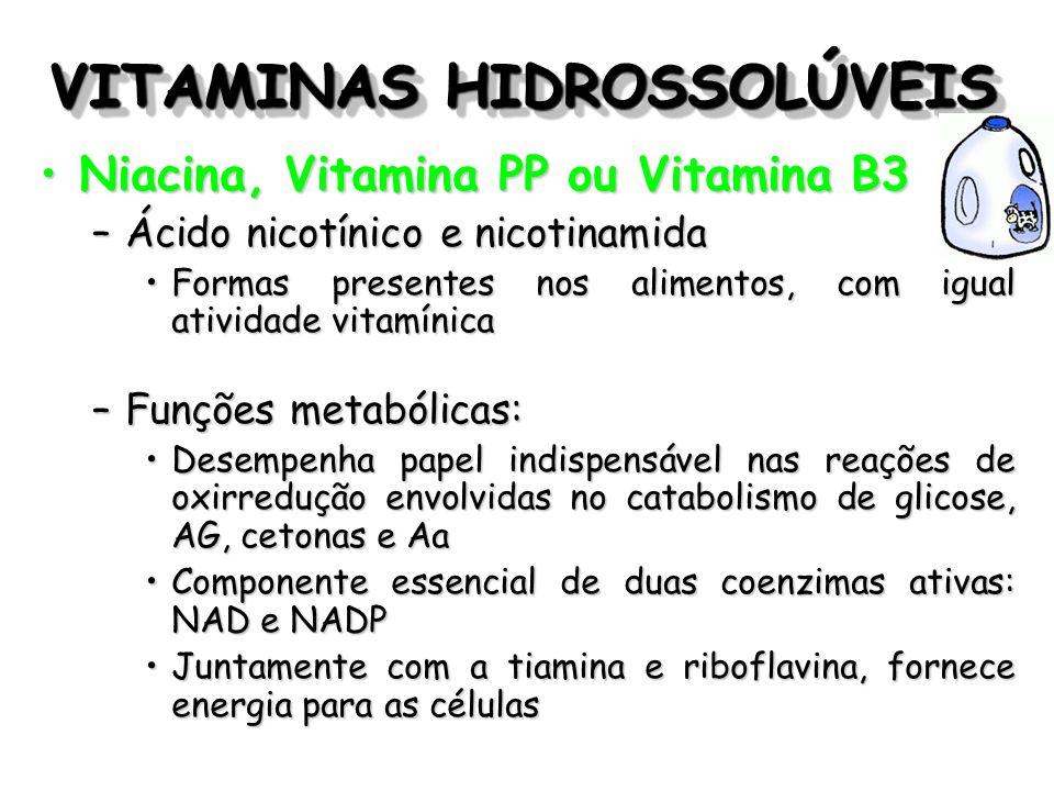 VITAMINAS HIDROSSOLÚVEIS Niacina, Vitamina PP ou Vitamina B3Niacina, Vitamina PP ou Vitamina B3 –Ácido nicotínico e nicotinamida Formas presentes nos