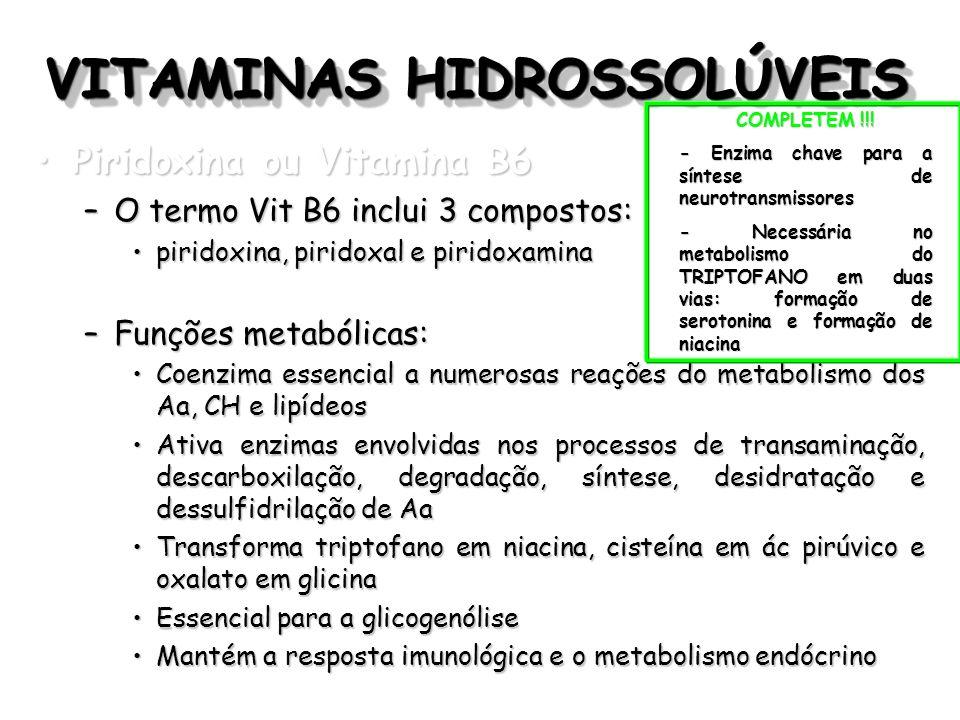 VITAMINAS HIDROSSOLÚVEIS Piridoxina ou Vitamina B6Piridoxina ou Vitamina B6 –O termo Vit B6 inclui 3 compostos: piridoxina, piridoxal e piridoxaminapi