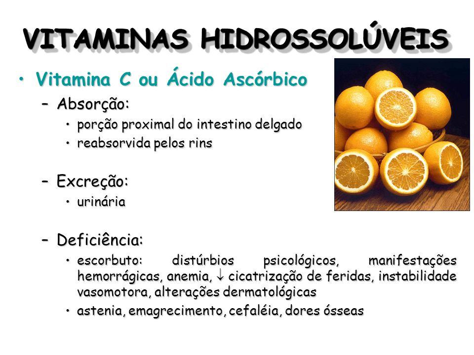 VITAMINAS HIDROSSOLÚVEIS Vitamina C ou Ácido AscórbicoVitamina C ou Ácido Ascórbico –Absorção: porção proximal do intestino delgadoporção proximal do