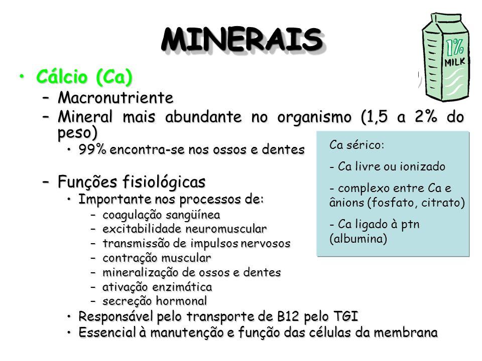 MINERAISMINERAIS Cálcio (Ca)Cálcio (Ca) –Macronutriente –Mineral mais abundante no organismo (1,5 a 2% do peso) 99% encontra-se nos ossos e dentes99%