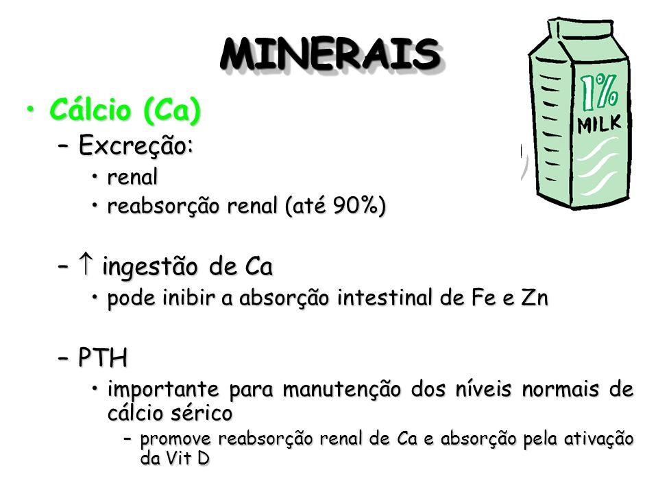 MINERAISMINERAIS Cálcio (Ca)Cálcio (Ca) –Excreção: renalrenal reabsorção renal (até 90%)reabsorção renal (até 90%) – ingestão de Ca pode inibir a abso
