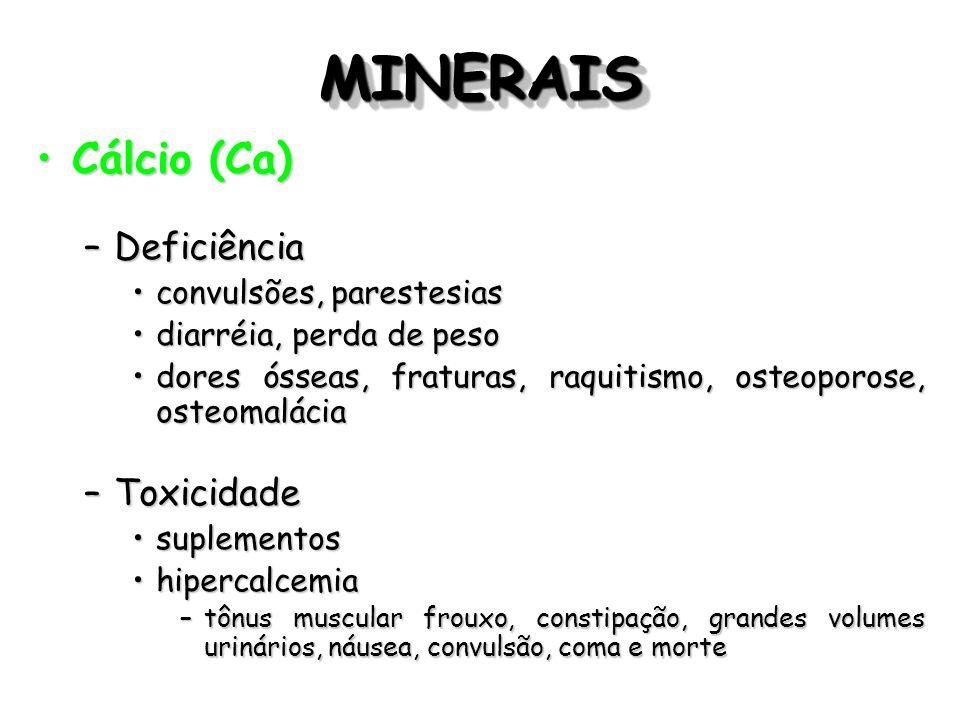 MINERAISMINERAIS Cálcio (Ca)Cálcio (Ca) –Deficiência convulsões, parestesiasconvulsões, parestesias diarréia, perda de pesodiarréia, perda de peso dor