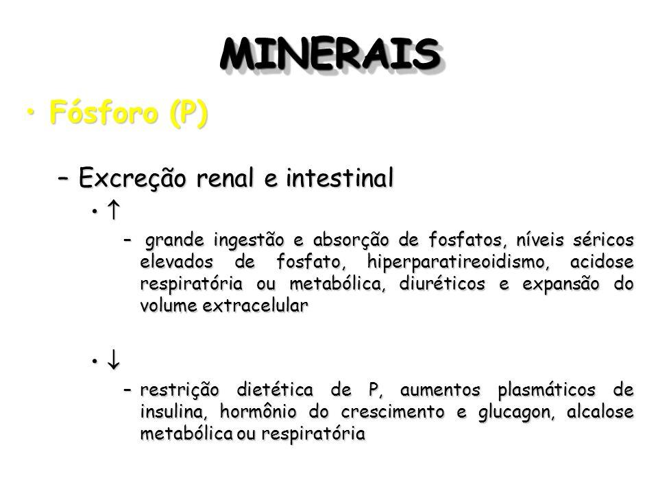 MINERAISMINERAIS Fósforo (P)Fósforo (P) –Excreção renal e intestinal – grande ingestão e absorção de fosfatos, níveis séricos elevados de fosfato, hip