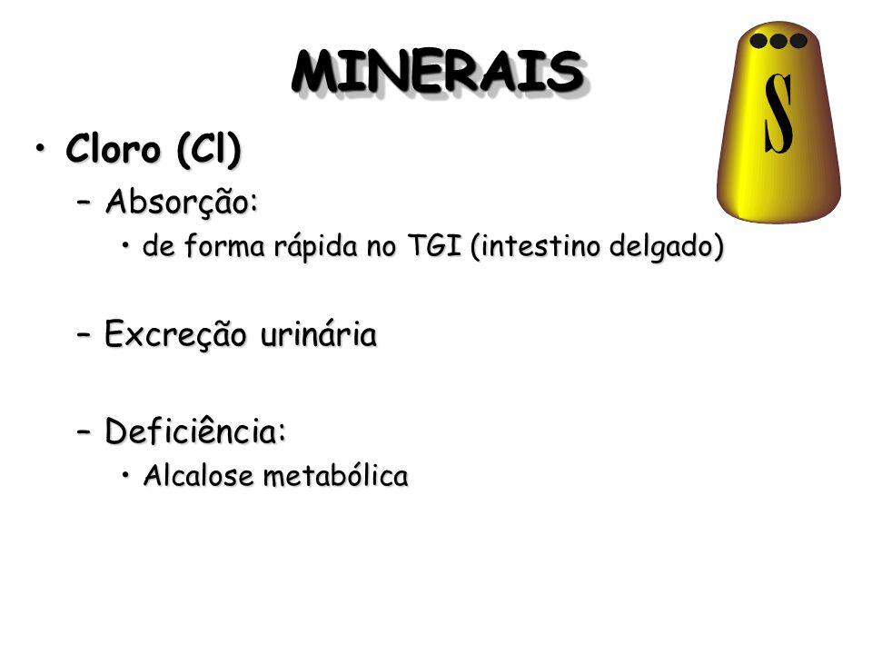 MINERAISMINERAIS Cloro (Cl)Cloro (Cl) –Absorção: de forma rápida no TGI (intestino delgado)de forma rápida no TGI (intestino delgado) –Excreção urinár
