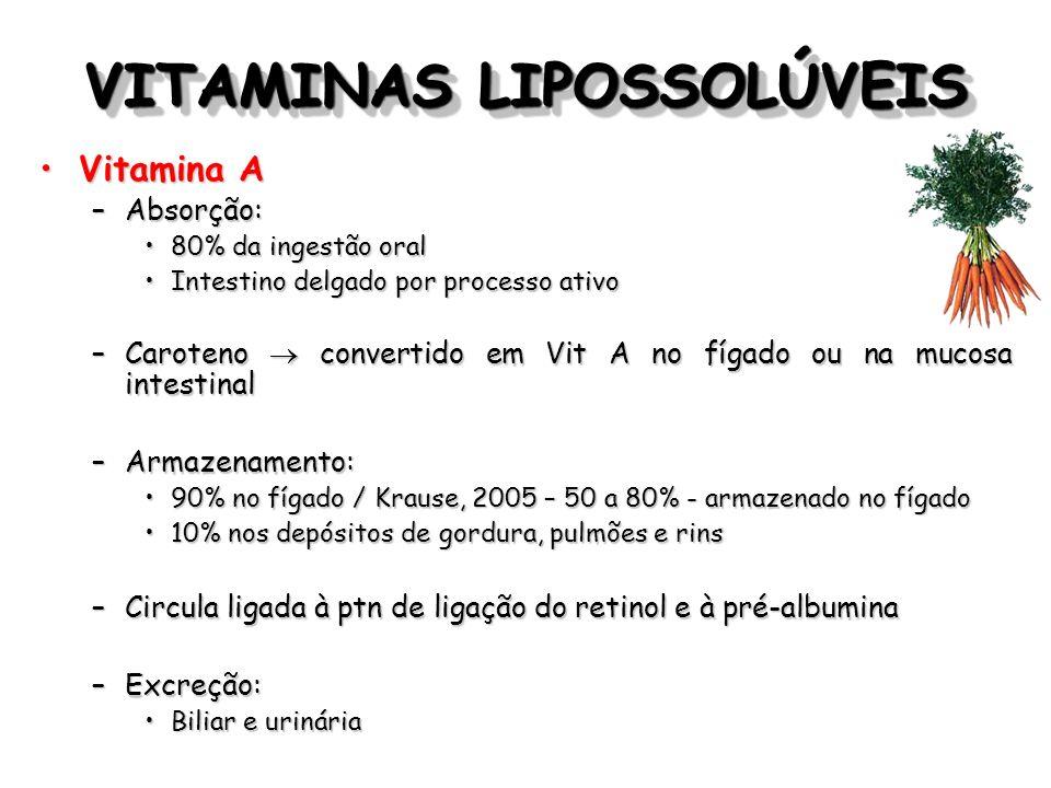 VITAMINAS LIPOSSOLÚVEIS Vitamina KVitamina K –Filoquinona (K1) Origem vegetalOrigem vegetal –Menaquinona (K2) Sintetizada por bactériasSintetizada por bactérias –Menadiona (K3) Origina-se da síntese bacteriana, a partir das menaquinonas (50% do requerimento)Origina-se da síntese bacteriana, a partir das menaquinonas (50% do requerimento) –Biodisponibilidade: Suplementos > absorção que alimentosSuplementos > absorção que alimentos –Vegetais – 20% –Suplementos – 80%