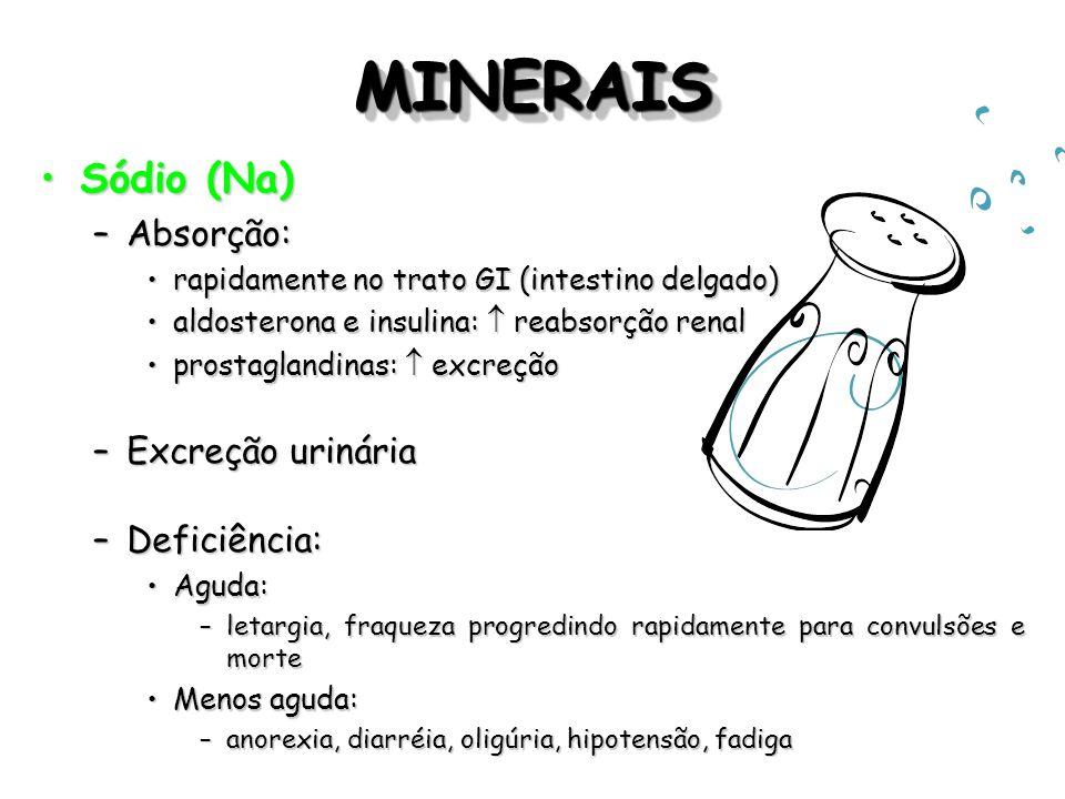 MINERAISMINERAIS Sódio (Na)Sódio (Na) –Absorção: rapidamente no trato GI (intestino delgado)rapidamente no trato GI (intestino delgado) aldosterona e