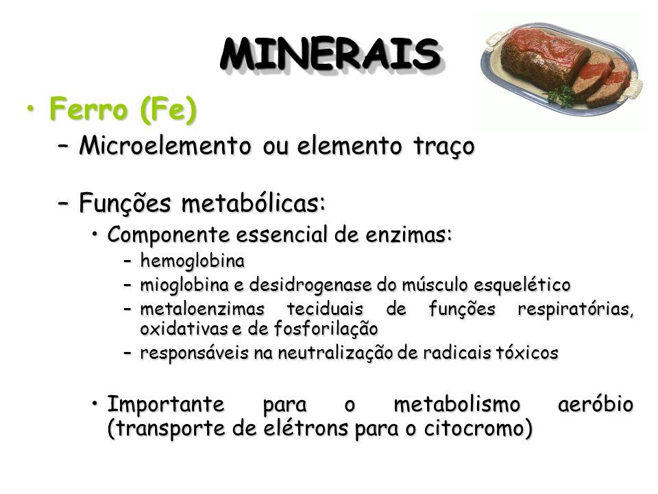 MINERAISMINERAIS Ferro (Fe)Ferro (Fe) –Microelemento ou elemento traço –Funções metabólicas: Componente essencial de enzimas:Componente essencial de e