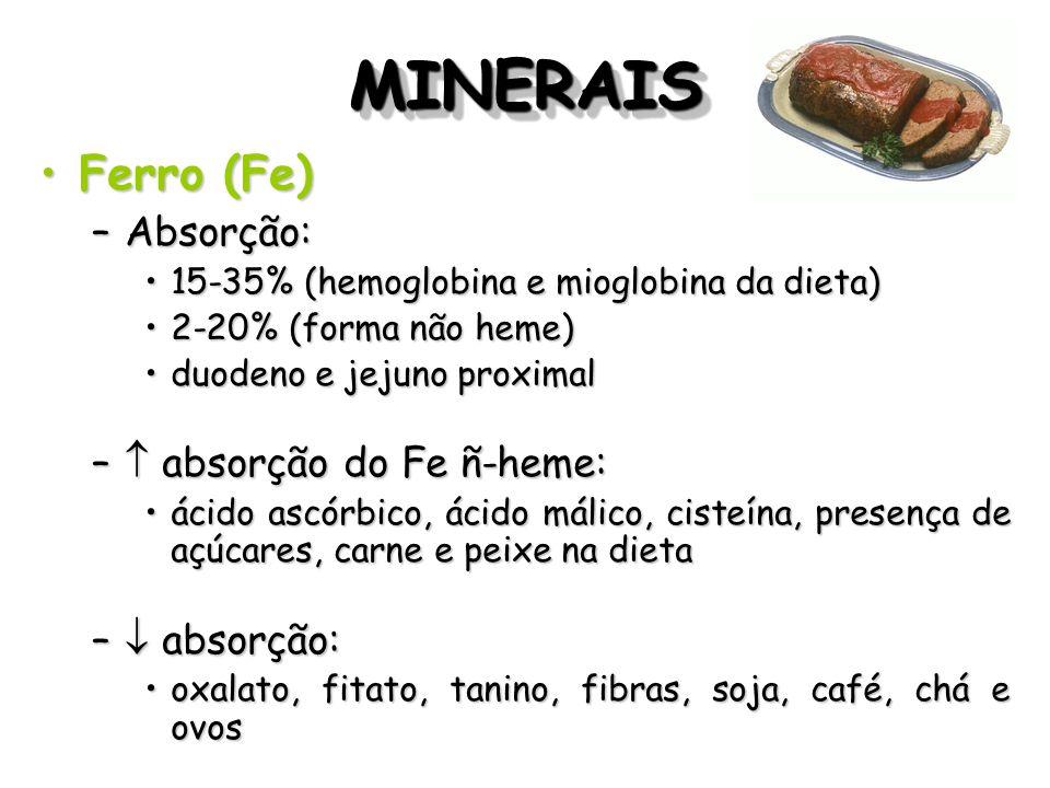 MINERAISMINERAIS Ferro (Fe)Ferro (Fe) –Absorção: 15-35% (hemoglobina e mioglobina da dieta)15-35% (hemoglobina e mioglobina da dieta) 2-20% (forma não