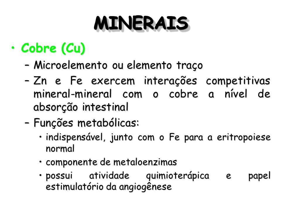 MINERAISMINERAIS Cobre (Cu)Cobre (Cu) –Microelemento ou elemento traço –Zn e Fe exercem interações competitivas mineral-mineral com o cobre a nível de