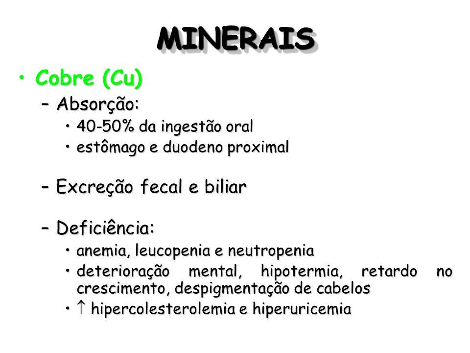 MINERAISMINERAIS Cobre (Cu)Cobre (Cu) –Absorção: 40-50% da ingestão oral40-50% da ingestão oral estômago e duodeno proximalestômago e duodeno proximal