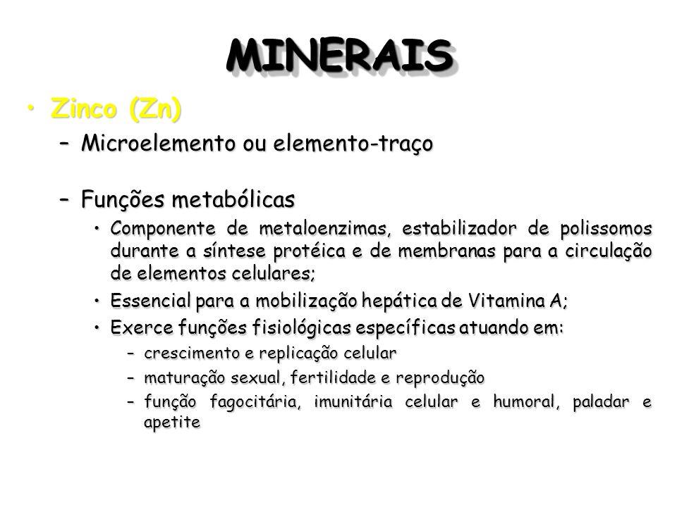 MINERAISMINERAIS Zinco (Zn)Zinco (Zn) –Microelemento ou elemento-traço –Funções metabólicas Componente de metaloenzimas, estabilizador de polissomos d