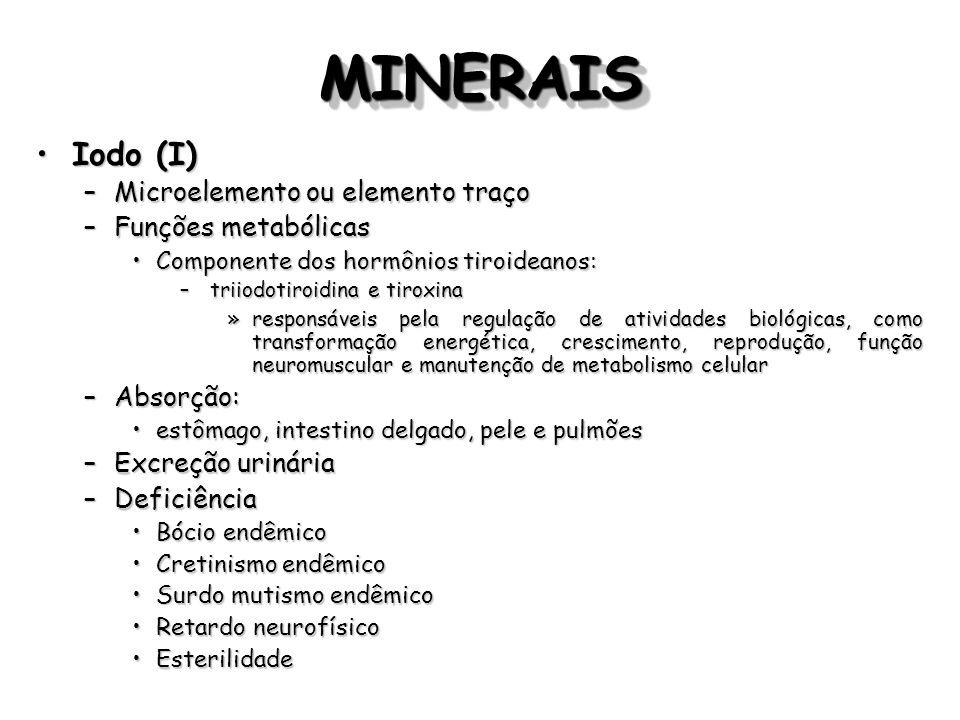 MINERAISMINERAIS Iodo (I)Iodo (I) –Microelemento ou elemento traço –Funções metabólicas Componente dos hormônios tiroideanos:Componente dos hormônios