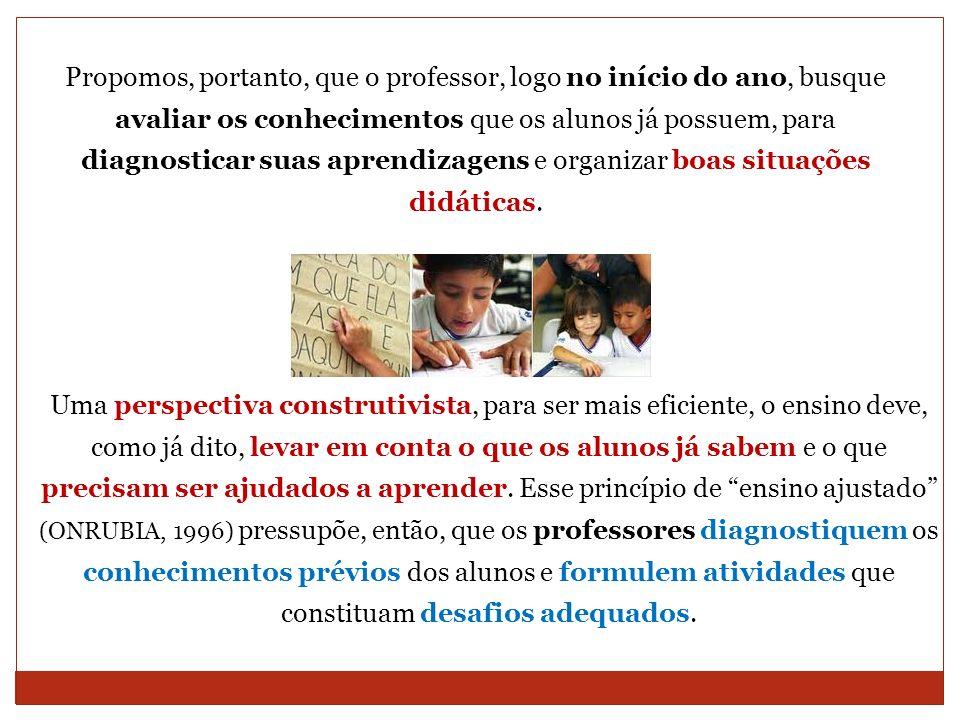 Propomos, portanto, que o professor, logo no início do ano, busque avaliar os conhecimentos que os alunos já possuem, para diagnosticar suas aprendiza