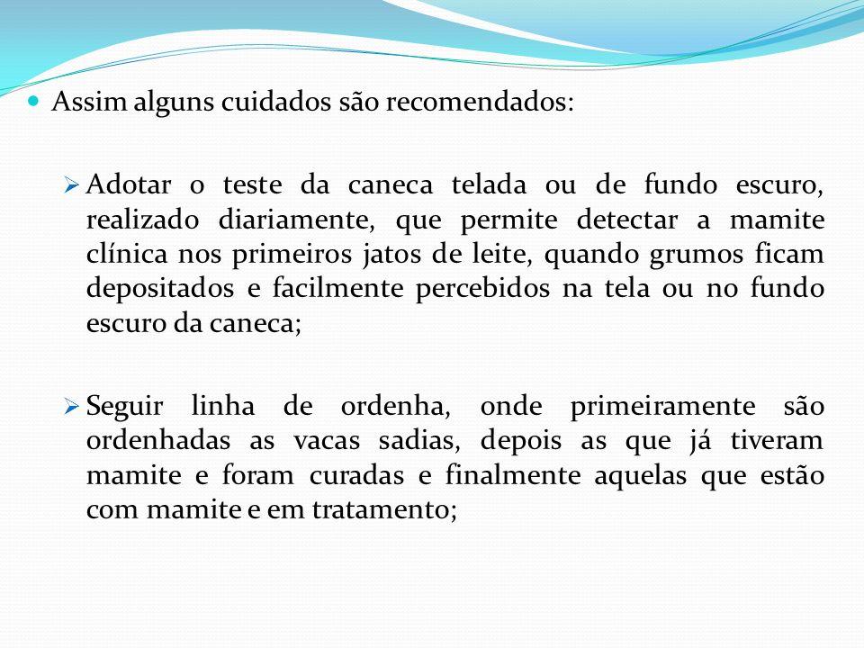 Assim alguns cuidados são recomendados: Adotar o teste da caneca telada ou de fundo escuro, realizado diariamente, que permite detectar a mamite clíni