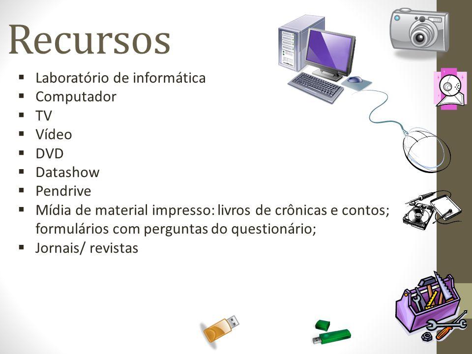 Recursos Laboratório de informática Computador TV Vídeo DVD Datashow Pendrive Mídia de material impresso: livros de crônicas e contos; formulários com